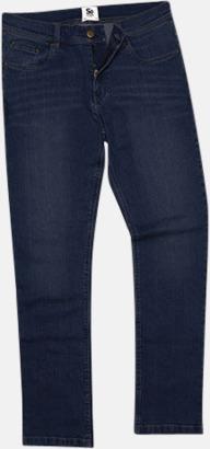 Dark Blue Wash (herr) Raka herr- & dam denim jeans med reklamlogo