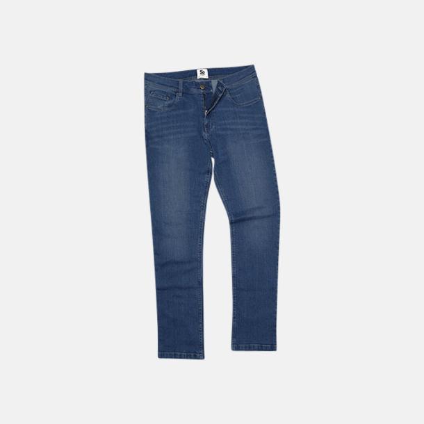 Mid Blue Wash (herr) Raka herr- & dam denim jeans med reklamlogo
