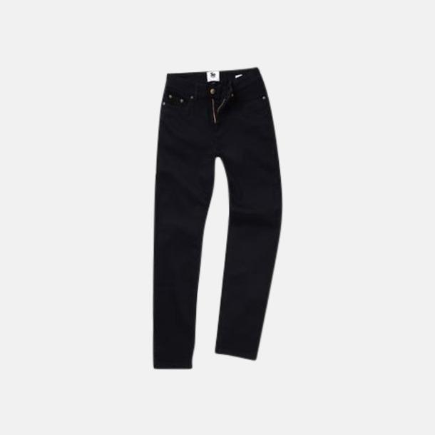 Svart (dam) Raka herr- & dam denim jeans med reklamlogo