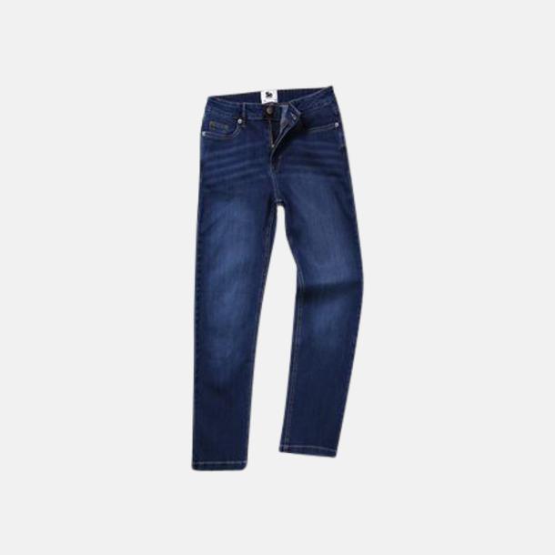 Dark Blue Wash (dam) Raka herr- & dam denim jeans med reklamlogo