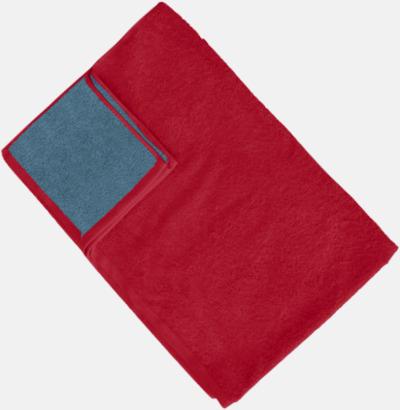 Paprika Red/Captain's Blue (Colonial Blue) Flerfärgade handdukar med reklamlogo