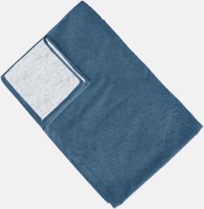 Vit/Captain's Blue (Colonial Blue) Flerfärgade handdukar med reklamlogo