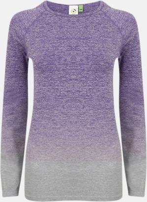 Purple - Light Grey Mar Långärmade träningstoppar med reklamtryck