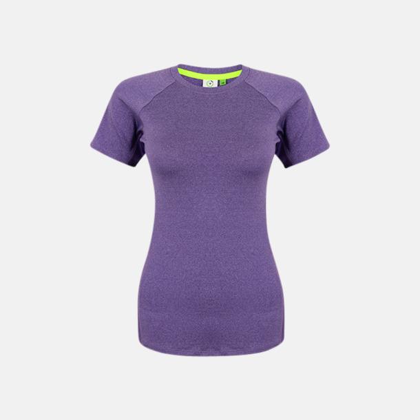 Purple Marl/Lila (dam) Tighta funktions t-shirts med reklamtryck