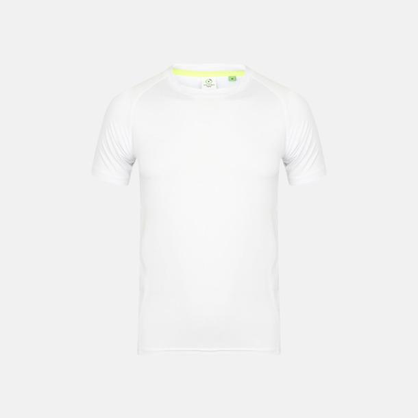 Vit (endast herr) Tighta funktions t-shirts med reklamtryck