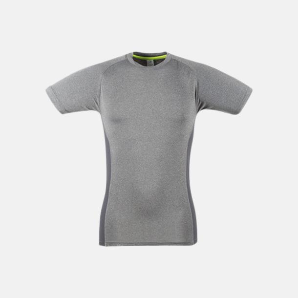 Grey Marl/Grå (herr) Tighta funktions t-shirts med reklamtryck