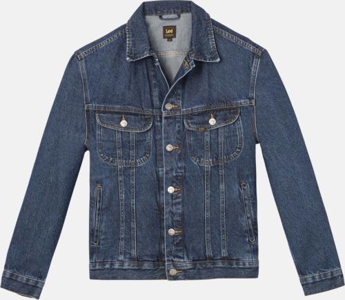 Dark Stonewash Lee jeansjackor med reklamlogo
