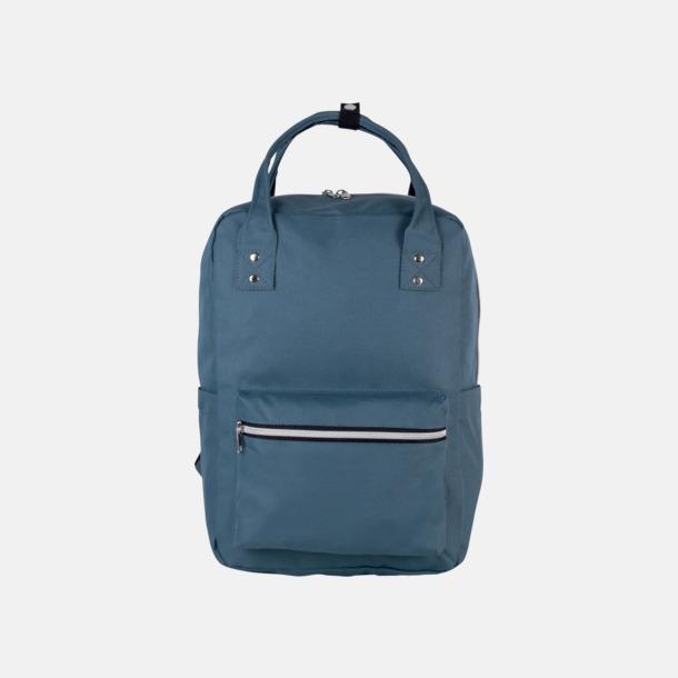 Blå Stadsvana ryggsäckar med reklamtryck
