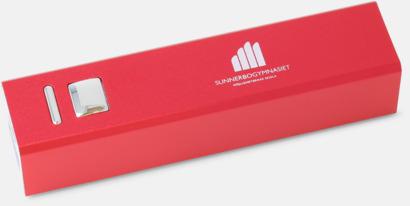 Röd Kraftfull mobilladdare med eget reklamtryck