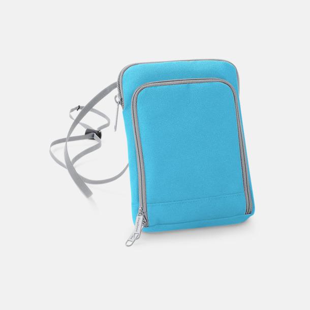 Surf Blue/Ljusgrå Reseplånböcker med dold halsrem - med reklamtryck