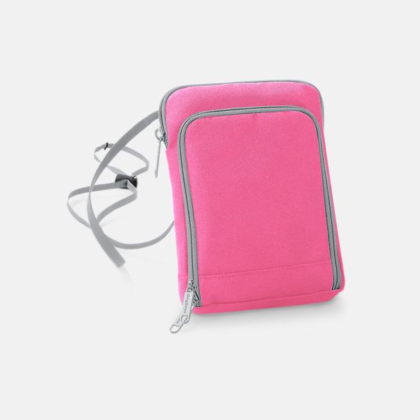 True Pink/Ljusgrå Reseplånböcker med dold halsrem - med reklamtryck