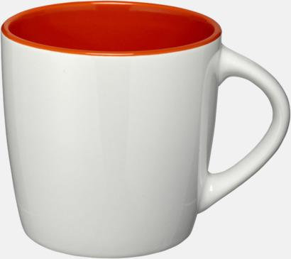 Vit / Orange Matta eller blanka muggar med reklamtryck