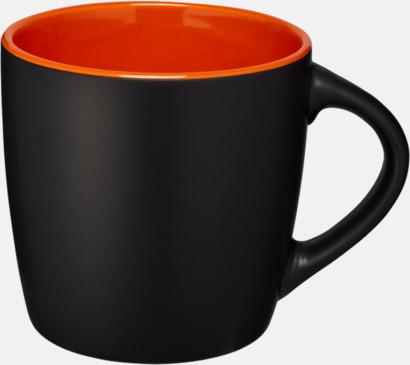 Svart / Orange Matta eller blanka muggar med reklamtryck
