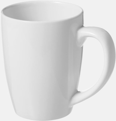 Vit 35 cl keramikmuggar med reklamtryck