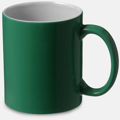 Grön / Vit Fina keramikmuggar med reklamtryck