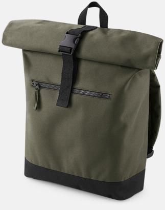 Military Green Datorryggsäckar med roll-top - med reklamtryck