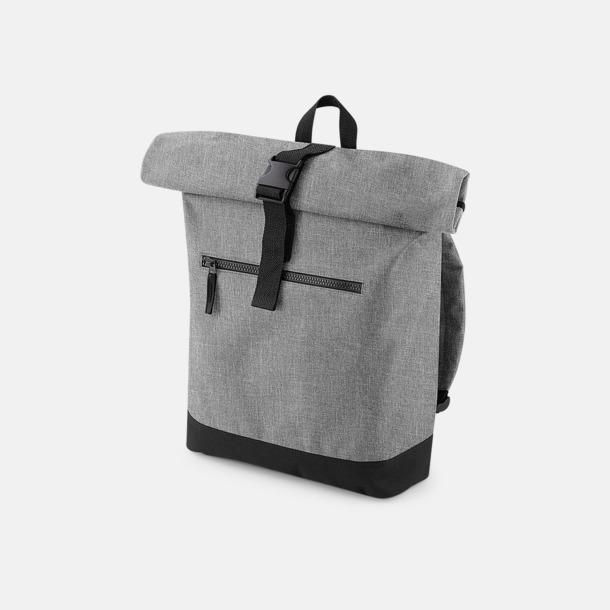 Grey Marl/Svart Datorryggsäckar med roll-top - med reklamtryck