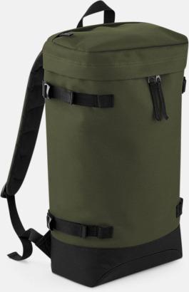 Military Green Retro ryggsäckar med reklamtryck