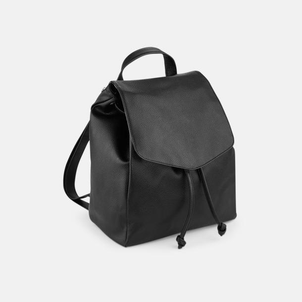 Svart Små ryggsäckar i konstläder med reklamlogo