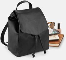 Små ryggsäckar i konstläder med reklamlogo