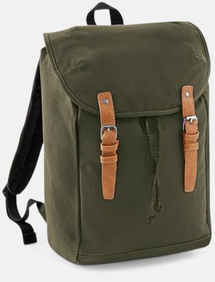 Military Green Vintage-ryggsäckar med reklamtryck
