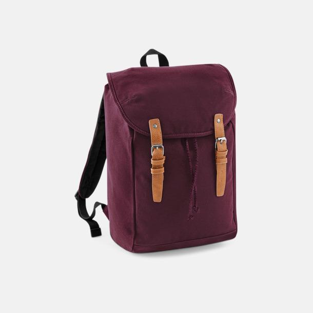 Burgundy Vintage-ryggsäckar med reklamtryck