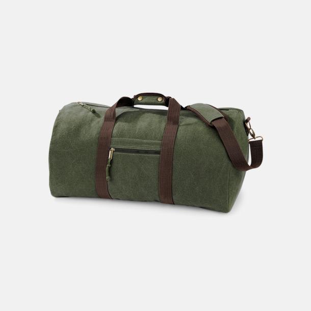 Vintage Military Green Vintagebagar med reklamtryck