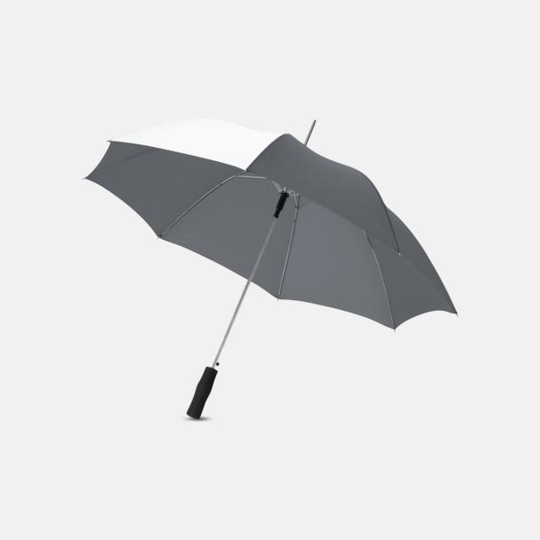 "Grå/Vit 23"" kontrastparaplyer med reklamtryck"