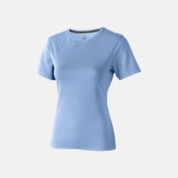 Ljusblå (dam) Bekväma t-shirts med reklamtryck
