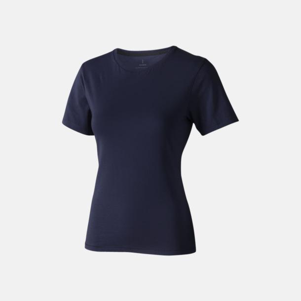 Marinblå (dam) Bekväma t-shirts med reklamtryck