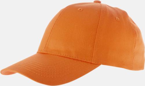 Orange Enfärgade bomullskepsar med reklamtryck