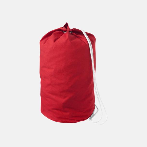 Röd Enkla seglarväskor i bomull med reklamtryck