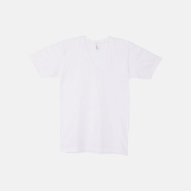 Vit Unisex v-neck t-shirts med reklamtryck
