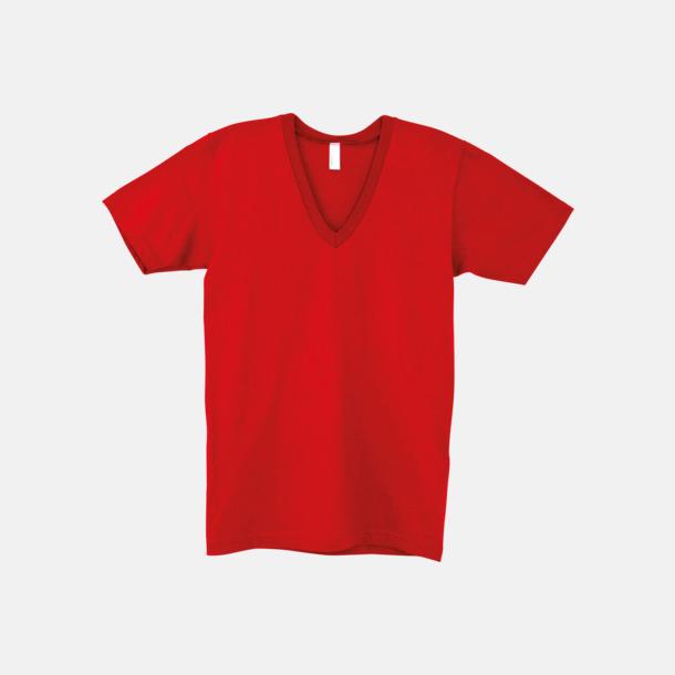 Röd Unisex v-neck t-shirts med reklamtryck