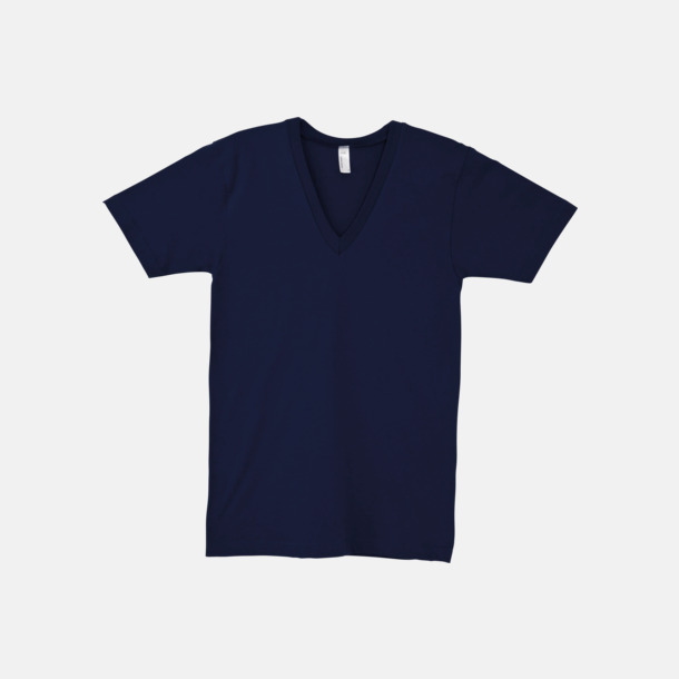Marinblå Unisex v-neck t-shirts med reklamtryck