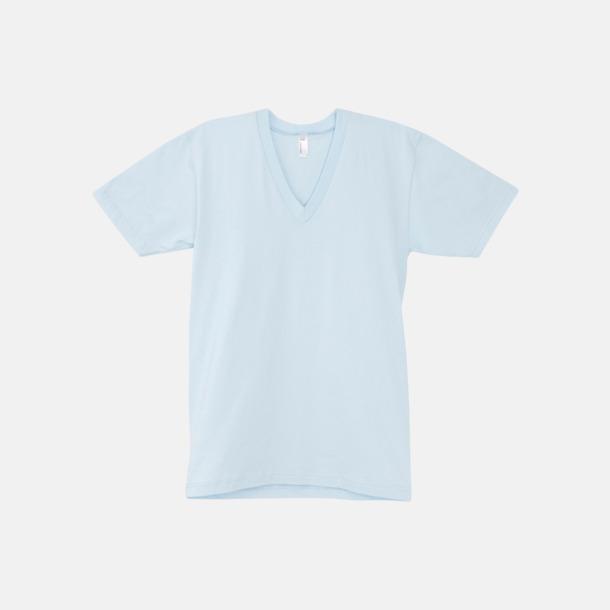 Ljusblå Unisex v-neck t-shirts med reklamtryck