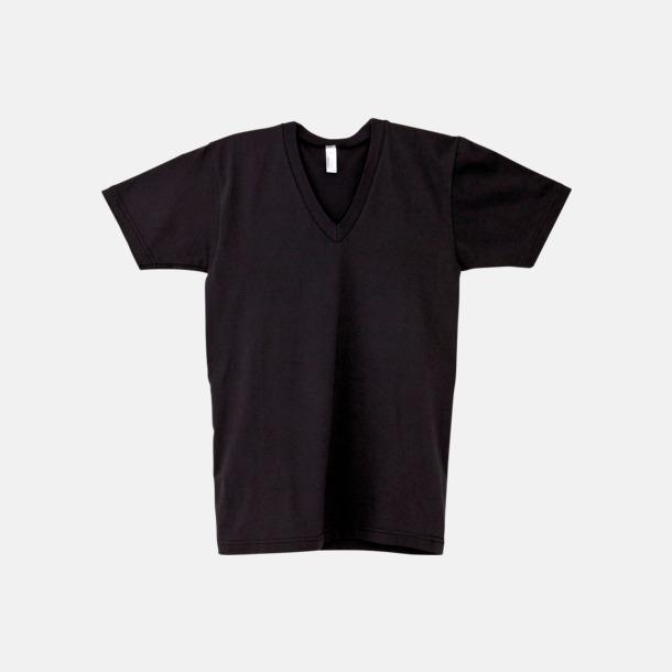 Svart Unisex v-neck t-shirts med reklamtryck