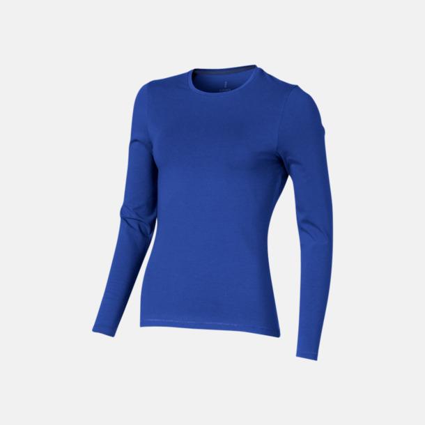 Blå (dam) Eko långärmade t-shirts med reklamtryck