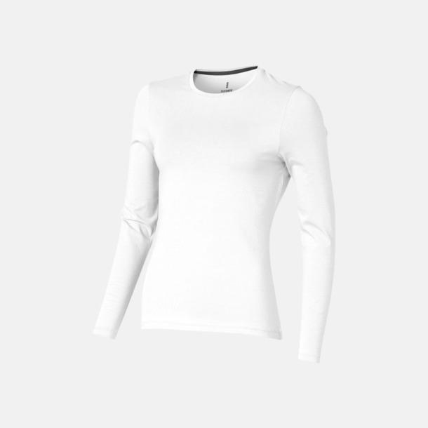 Vit (dam) Eko långärmade t-shirts med reklamtryck