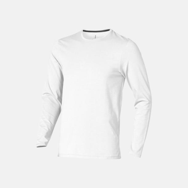 Vit (herr) Eko långärmade t-shirts med reklamtryck
