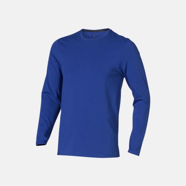 Blå (herr) Eko långärmade t-shirts med reklamtryck