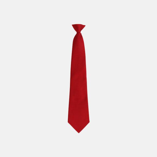Röd Slipsar med spännen - med reklamtryck