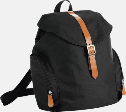 Svart Moderna ryggsäckar med 1 eller 2 remmar - med reklamtryck