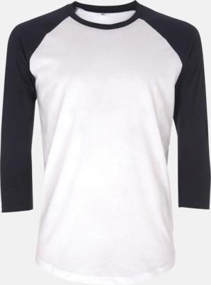 Vit/Navy EkologiskBaseball T-shirt med eget reklamtryck