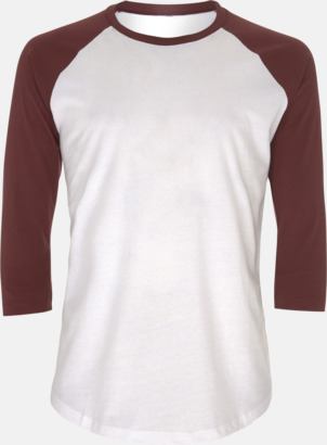 Vit/Burgundy EkologiskBaseball T-shirt med eget reklamtryck