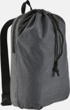 Mörkgrå ryggsäckar med reklamtryck