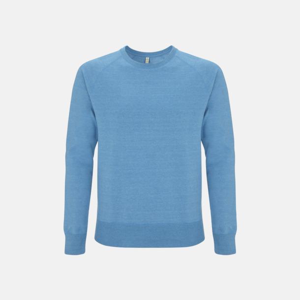 Melange Mid Blue Sweatshirt av återvunnet material med eget reklamtryck