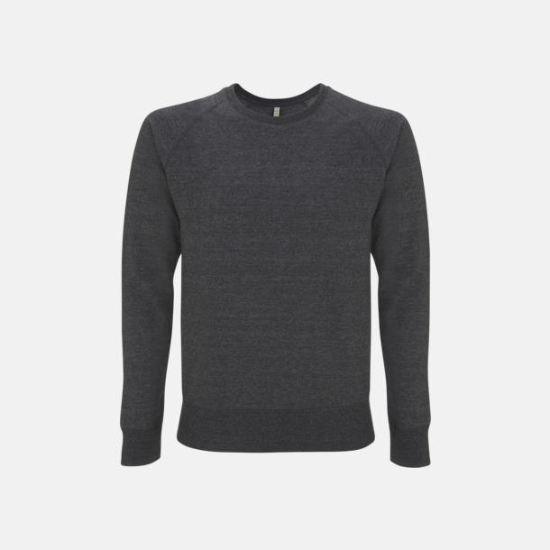 Melange Black Sweatshirt av återvunnet material med eget reklamtryck