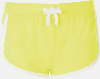 Neon Yellow Korta och färgglada retro shorts med reklamtryck