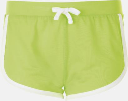 Neon Green Korta och färgglada retro shorts med reklamtryck